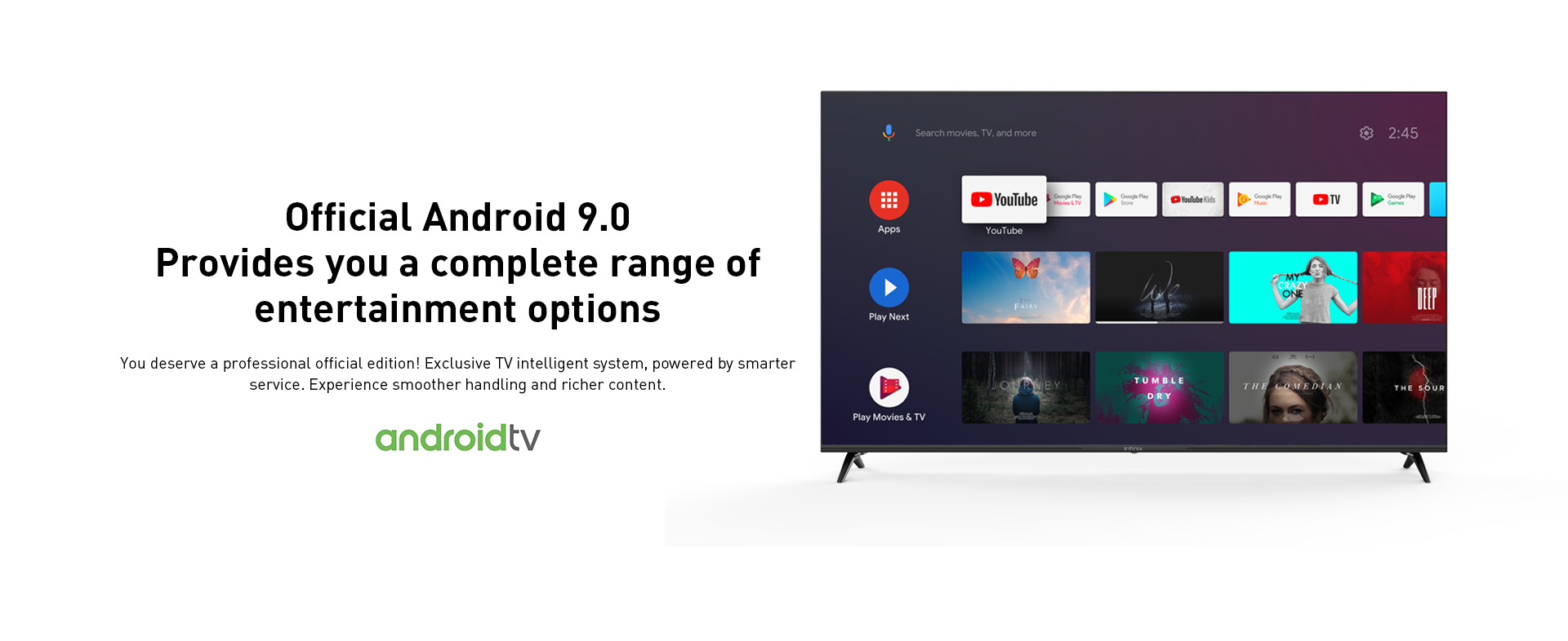 """Infinix X1 Android TV 43""""-wifi-support,In built chrome cast,frame-less design,screen mirroring 37"""